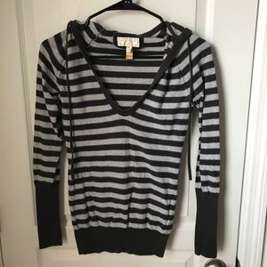 American Eagle Outfitters Tops - *final price* AEO- Grey Striped Hooded Sweater XS